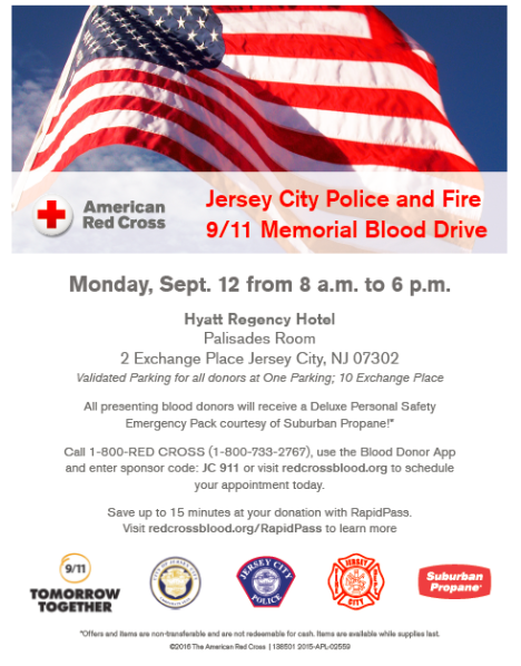 Join us for the Jersey City Police and Fire 9/11 Memorial Blood